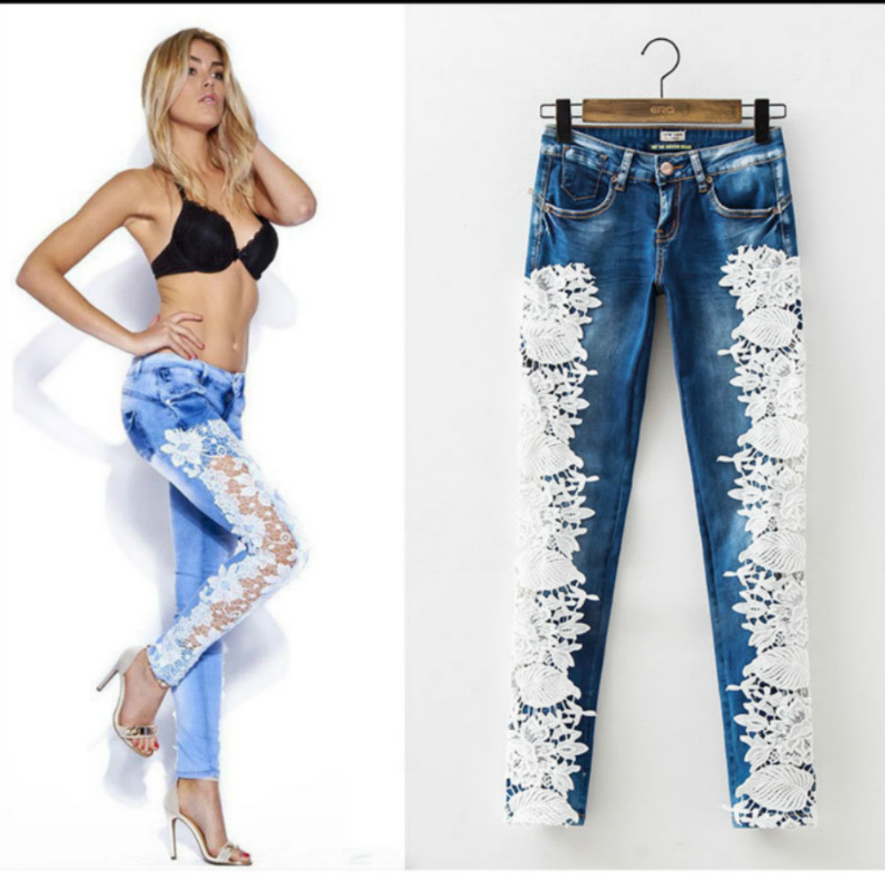 2017 fashion lace jeans women low waist crochet skinny. Black Bedroom Furniture Sets. Home Design Ideas