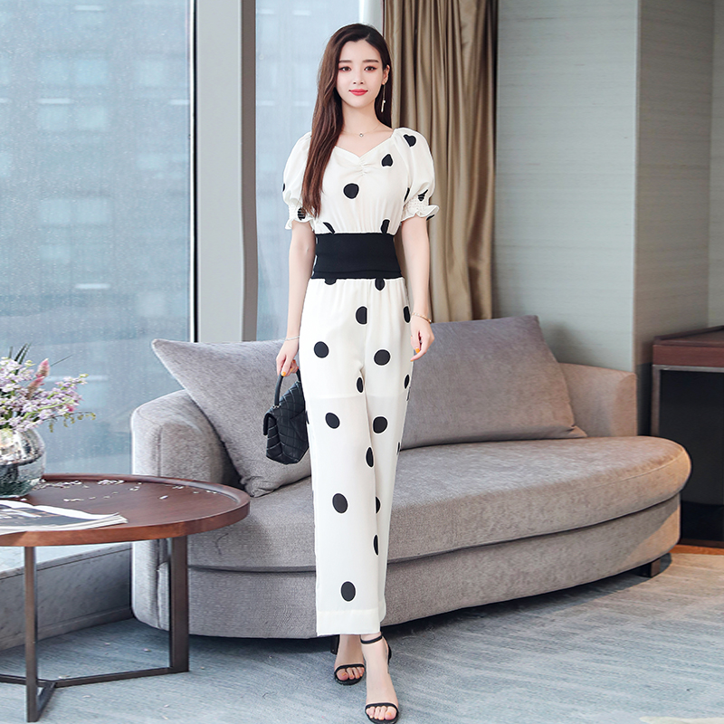 Summer Dot Print Two Piece Sets Outfits Women Plus V-neck Short Tunics Tops And Wide Leg Pants Suits Elegant Ladies 2 Piece Sets 31