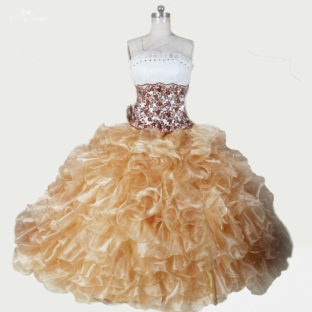 97922b0b80b RSE283 High Quality Yiaibridal Organza Gold White Sweet 16 Dresses  Quinceanera Dresses Debutante Gowns