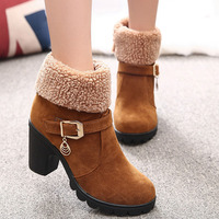 2017 New Autumn Winter Women Boots High Quality Solid Lace Up European Ladies Shoes Leather Fashion