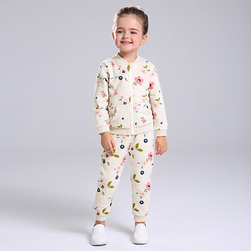 Baby Girl Clothing Set Casual Girls Sweatshirt Spring Outwear Coat+Pants Cotton Kids Suits Long Sleeved Autumn Print Clothes 2016 new girls flowers lace 3pcs clothes sets spring autumn kids coat long sleeved t shirt pants cute patter girl set high grade