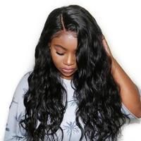 Предварительно сорвал полный шнурок человеческих волос парики для женский, черный объемная волна плотности 250 Glueless парик с ребенком волос н