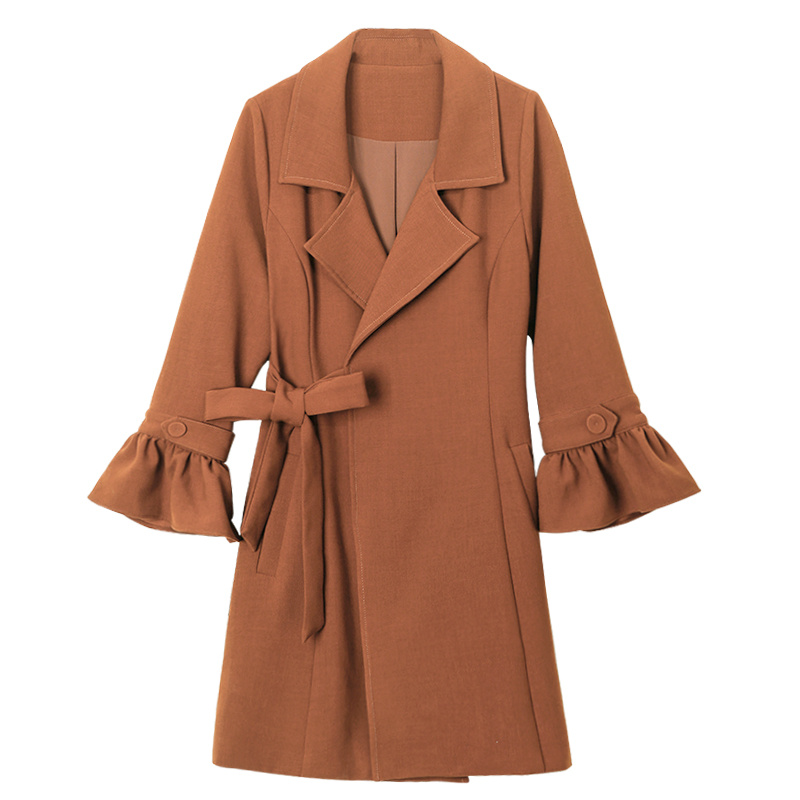 Xnxee 2019 Spring and Autumn Outerwear Belt Thin Trench Coat slim long   coat outwear elegant Nine quarter
