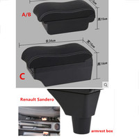 For Renault Sandero Stepway armrest box central Store content Storage box armrest box USB interface