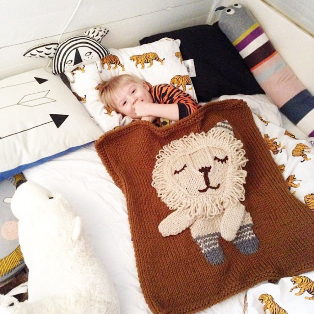 Toddler Blanket Bear Elephant Lion Crochet Throw for Crib 100% Cotton Baby Gift Blanket Throw Handmade Blanket