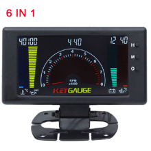 5 LCD 6 in 1 Multiple Functions Auto Car Gauge Meter Volts Clock RPM Water Temp Oil Pressure Voltmeter