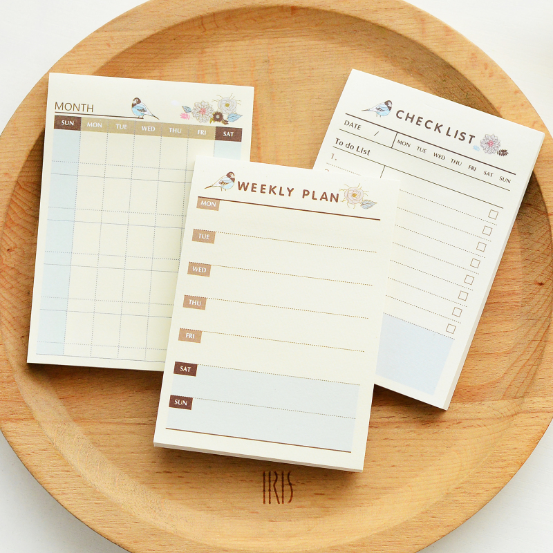 Korean Kawaii Cute Weekly Monthly Plan Time Schedule Checklist Desk Note Pad Post It Planner Agendas Sticky Notes Memo Pad korean kawaii cute school office supplies daily weekly monthly plan desk note pad memo pad planner agendas checklist