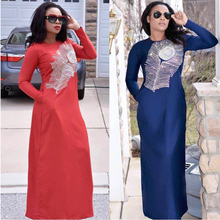 H&D 2019 african dresses for women embroidery pattern dashiki dress with shining stones traditional womens clothes S3308