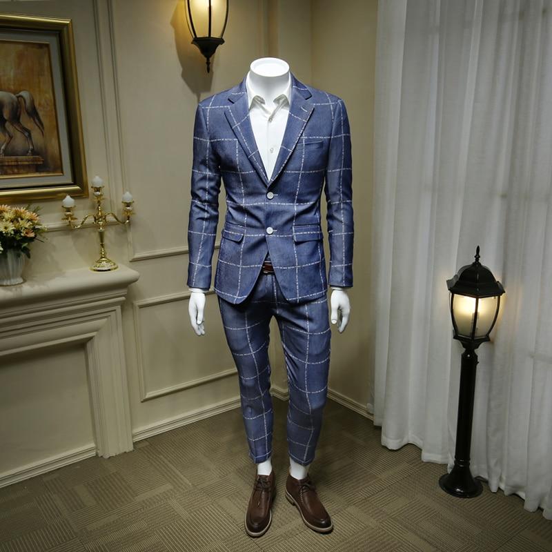 XM GEEKI hommes bleu Plaid costumes hommes costume d'affaires décontracté vestes anglais alphabet hommes de mariage costumes blanc formel Blazer 365wt58