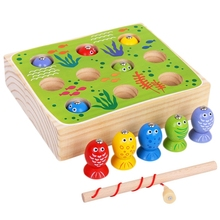 Children'S Puzzle Fun Fishing Game Magnetic Wooden Building Blocks Toys Infant Boys And Girls Baby Gifts 2 in 1 magnetic fishing game geometric building blocks kids wooden toys baby fishing game five sets of pillars toys for childre