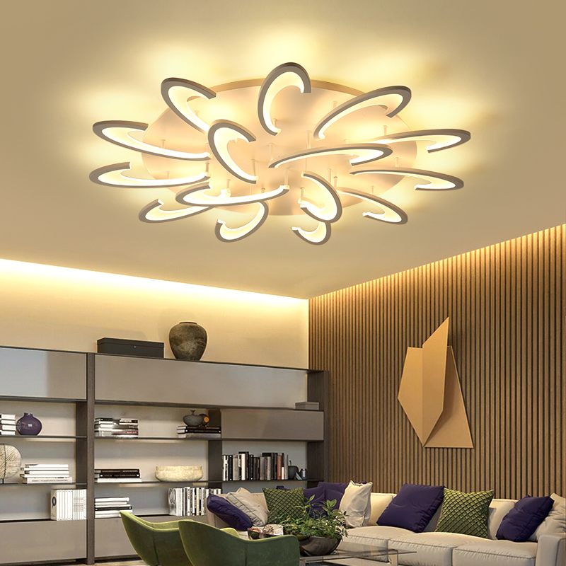 NEO Gleam Modern Led Ceiling Lights For Living Room Bedroom White Color Acrylic Home Dec Surface Mounted Ceiling Lamp Fixtures black or white rectangle living room bedroom modern led ceiling lights white color square rings study room ceiling lamp fixtures