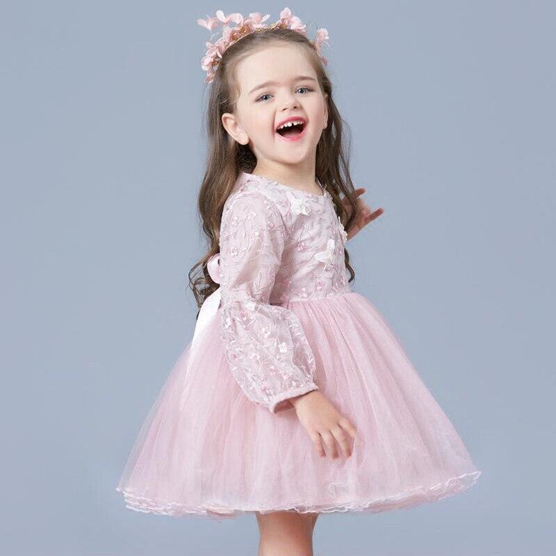 Mignon princesse filles robe en couches à manches longues broderie dentelle robes anniversaire fête de noël Costume pour enfants pour fille JF302