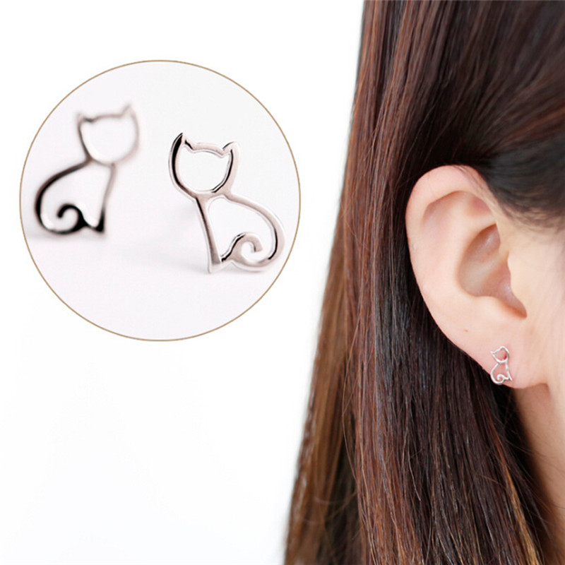 Tiny Symmetry Cute Cat Stud Earrings Women Lovely Hollow Cats Fashion Jewelry Wholesale Gifts For Girls Brincos