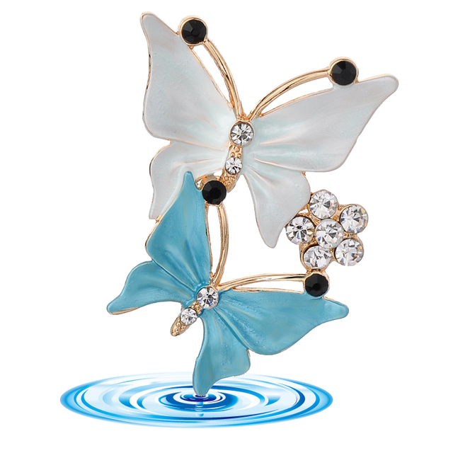 3 colors Elegant charm female Multilayer Enamel rhinestone Double butterfly danc