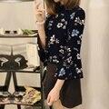 Mulheres do vintage imprimir chiffon blusas tops 2017 primavera outono fêmea elegante 3/4 flare manga o pescoço casual soltos blusas camisas