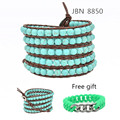 Men jewelry Leather bracelet Multilayer Turquoise beads bracelets charm bracelets &bangles free silicone bracelet JBN-8850