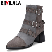 Kiiyilala High Heel Motorcycle Boots Women Shoes Woman Ankle Boots Shoes New Pointed Toe Side Zipper Buckle Woman Boots Big Size недорого