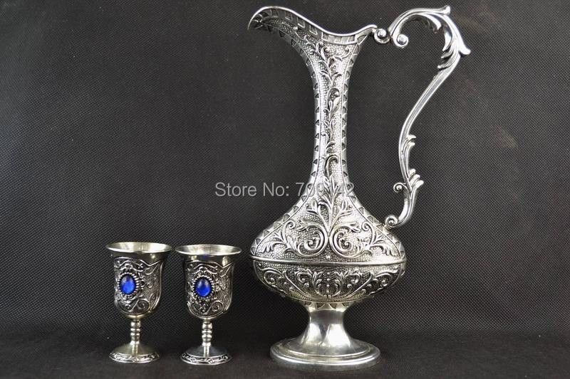 Decoration Old hand carved inlaid beads Tibetan silver Miao high teapot Cup group statue Tibet Miao Antique Old SilverDecoration Old hand carved inlaid beads Tibetan silver Miao high teapot Cup group statue Tibet Miao Antique Old Silver