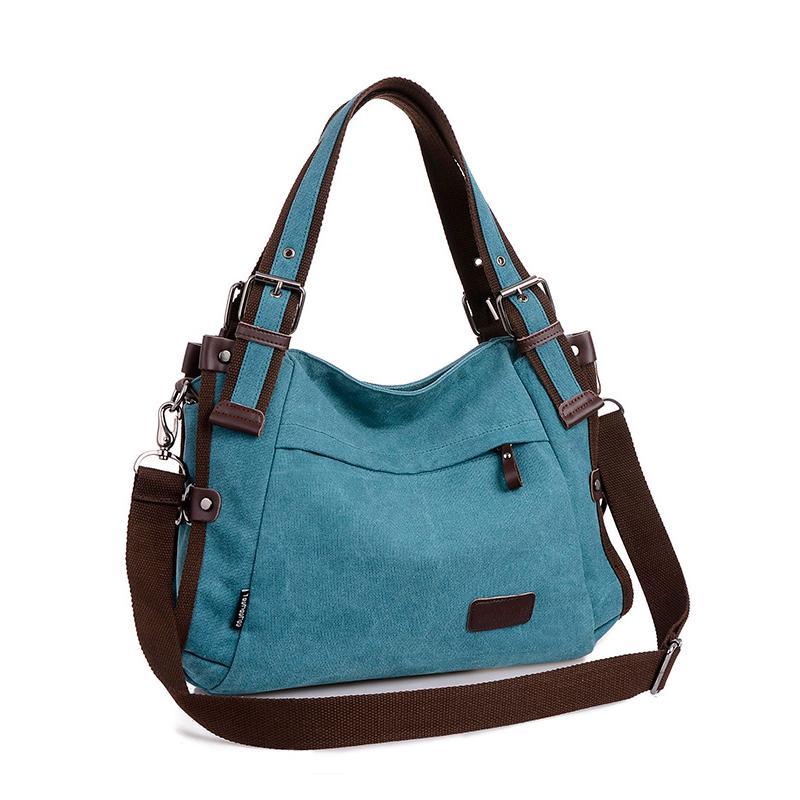 ФОТО Vintage Canvas Shoulder Bag For Women Handbags Casual Women Messenger Bags Hobo Famous Brand Ladies Tote Bag Female Handbags
