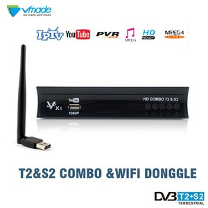 HD 1080P Digital Terrestrial Satellite Receiver TV Tuner With USB WiFi DVB-T2/S2 Combo Support Dolby PVR Youtube Set Top Box