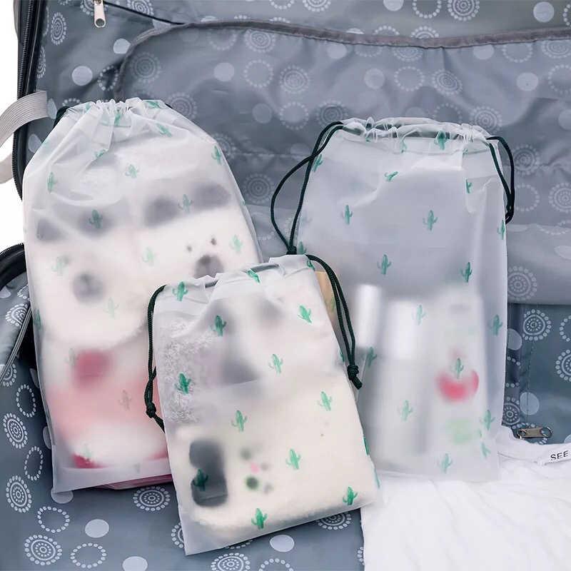 1 adet saklama çantası çantası bavul seyahat çantası şeffaf su geçirmez İpli çanta giysi saklama ayakkabı organizatörü kozmetik cep
