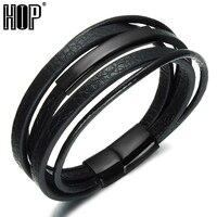 HIP Gold Color Magnetic Clasp Men Bracelets Bangles Punk Black Multilayer Genuine Leather Rope Chain Bracelet