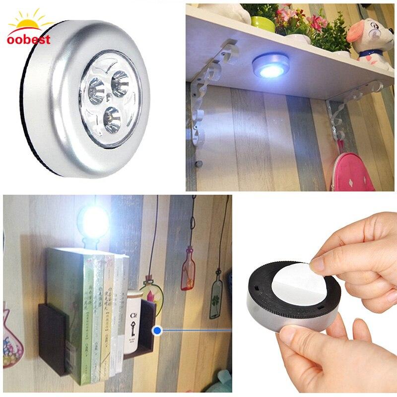 Mini Ruedas 3 LED inalámbrico armario Touch batería lámpara de luz ...
