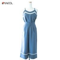 Vancol 2017 الموضة 2 قطعة مجموعات بذلة مثير الخامس عنق أكمام خمر الأزرق xl زائد الحجم المرأة بذلة السراويل الطويلة