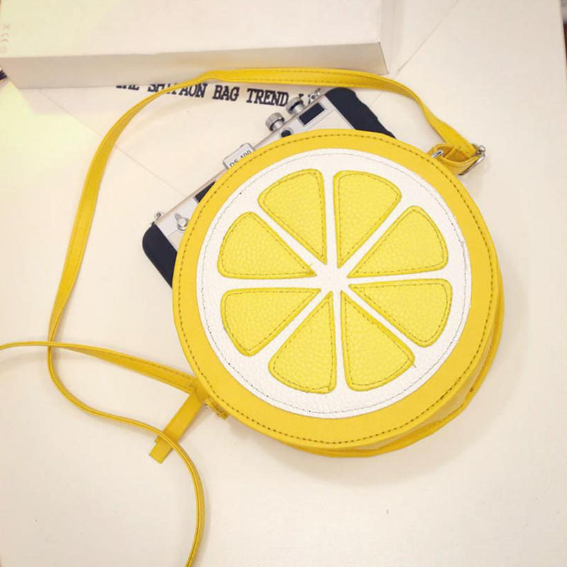 2017 New Arrival Round Lemon Orange Pattern Zipper Crossbody Women Messenger Bag Satchel Purse Shoulder Mini Bags Ladies