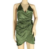 KSFS Women's Fashion V neck irregular Sexy Dress GREEN Pink