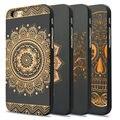 Casos de telefone para apple iphone 6 6 s 6 mais 100% de madeira natural + pc mandala caso capa dura de volta caso de telefone sacos para iphone 6 6 s 6 Mais