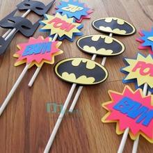 Cupcake Birthday-Party-Decorations Wedding Toppers-Superhero Logo Comic Boy 12pcs Die-Cut-Bat
