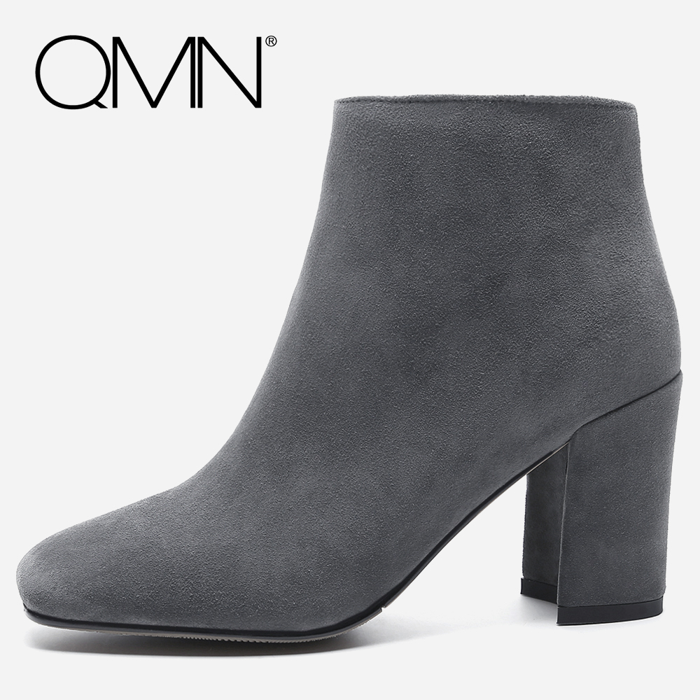 QMN women genuine leather ankle boots for Women Natural Suede Fashion Boots Shoes Woman Square Toe Basic Boots Botas Size 34-39 qmn women crystal trimmed brushed embossed leather brogue shoes women square toe oxfords shoes woman genuine leather flats 34 43