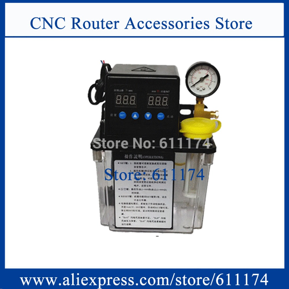 1 5L Automatic Lubrication Pump 220v CNC Digital electronic Timer Oil Pump with pressure gauge For