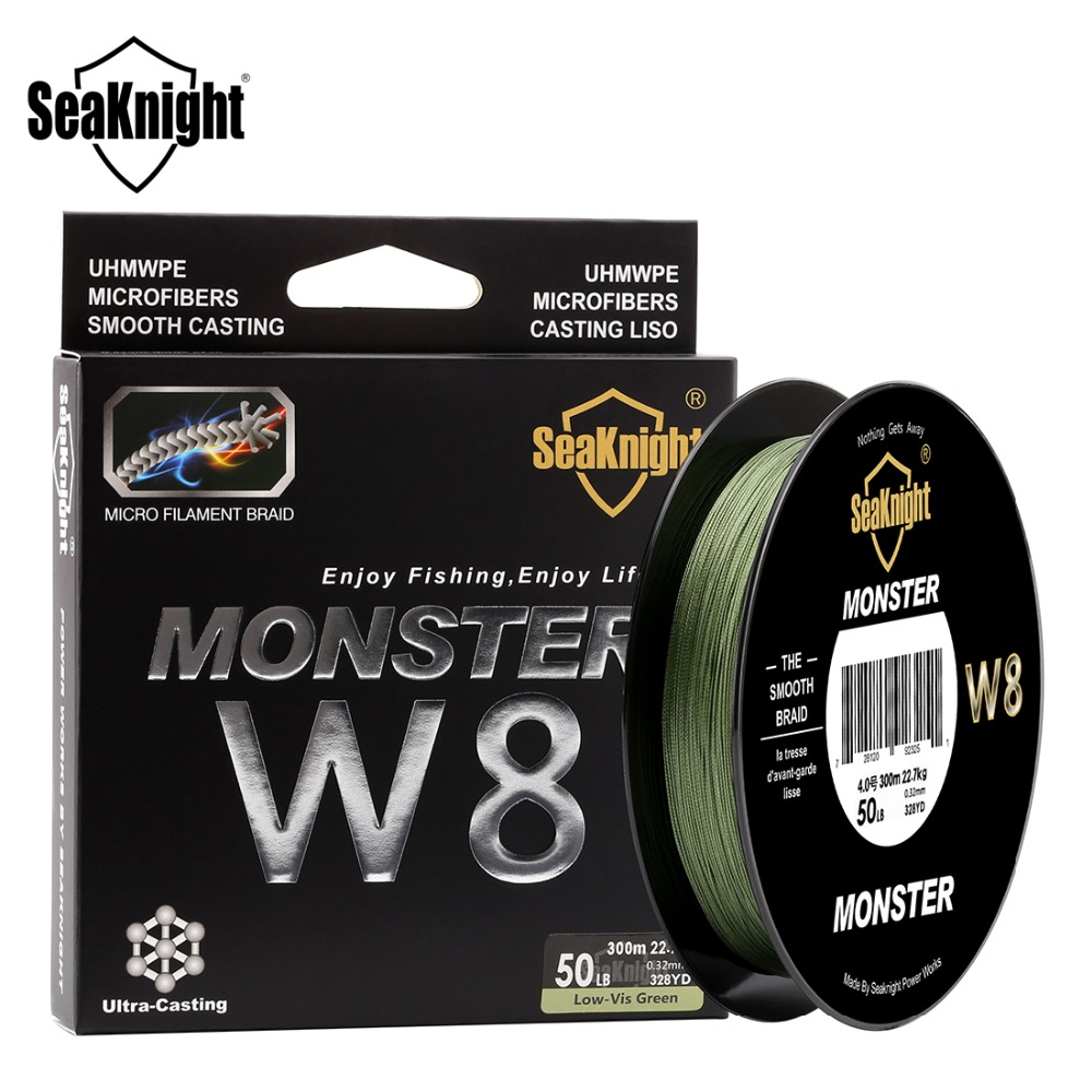 SeaKnight MONSTER W8 Fishing Line 150M 300M 500M 8 Strands Braided Fishing Line Multifilament PE Line 15 20 30 40 50 80 100LB(China)