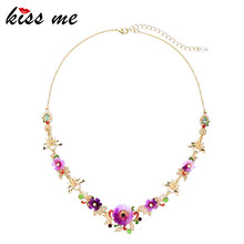 KISS ME Women Enamel Flower Necklace High Quality Gold Color Alloy Short Neckklaces for Women Luxury Jewelry(China)