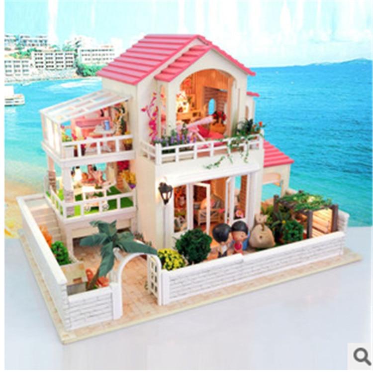 New Free Large Diy Wood Miniature Doll House With Fumiture Light 3D Handmade Miniatura Model Wooden Dollhouse Birthday Gift Toy sakura sushi bar japanese zakka style diy doll house 3d miniature led light wood