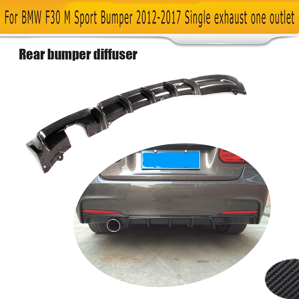 3 Series Carbon Fiber Rear Bumper Diffuser lip spoiler for BMW F30 M Sport  12-17 Single exhaust one outlet Black FRP carbon fiber nism style hood lip bonnet lip attachement valance accessories parts for nissan skyline r32 gtr gts