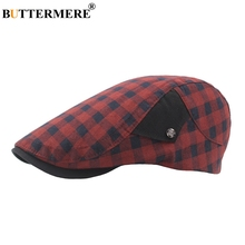 BUTTERMERE Red Plaid Beret Hats For Men Women Summer Cotton Flat Caps Adjustable Checkered Vintage Duckbill Hat Male