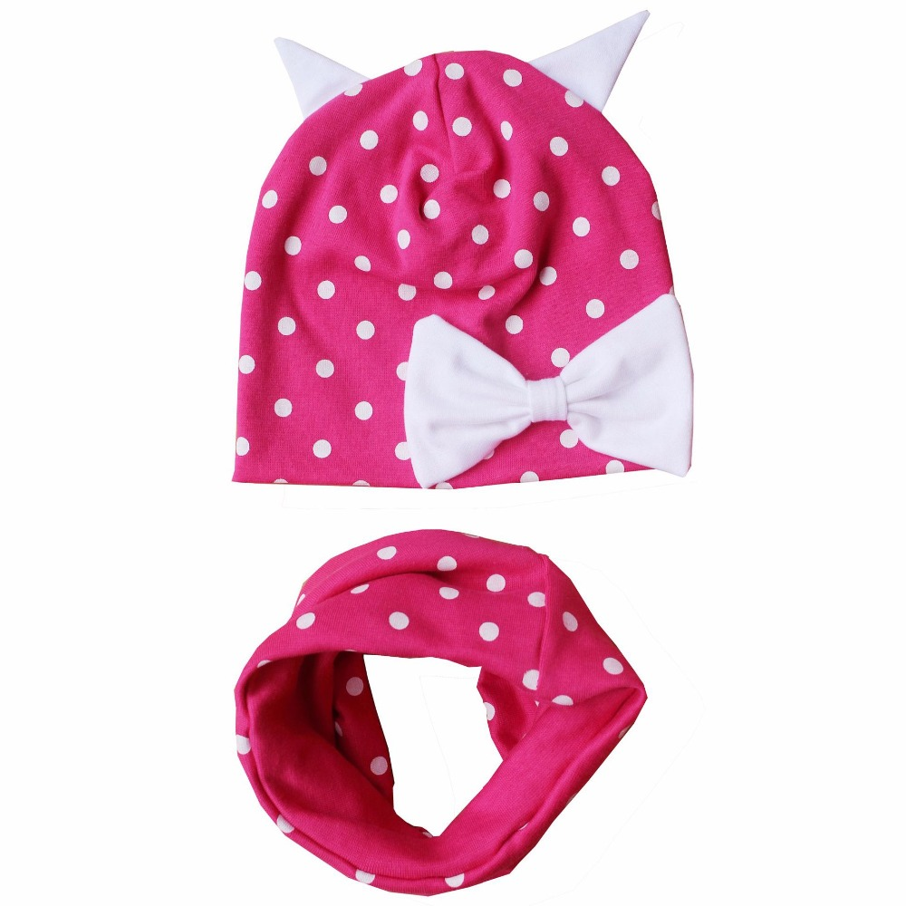 2018 New Spring And Autumn Cartoon Child Hat Baby Boy And Girl Cotton Hat Scarf Sets Bowknot Little Hat Scarf Suit Beanies Pleasant In After-Taste
