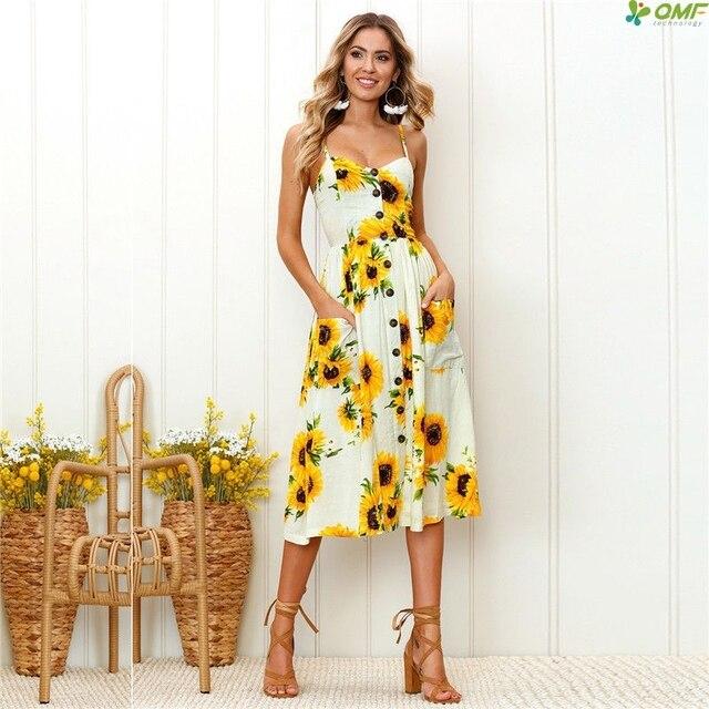 2018 Fl Strap Dress Long Boho Beach Casual Bohemian Sundress Loose Elegant Vintage Sleeveless