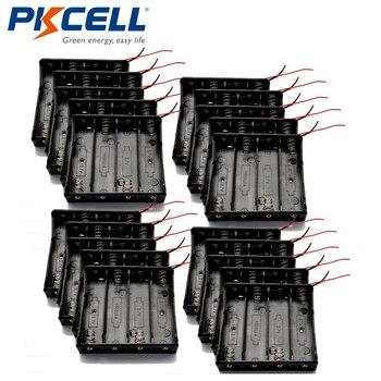 PKCELL 20 x Black Plastic Battery Holder 18650 4slot Battery Cells Clip Holder Box Case