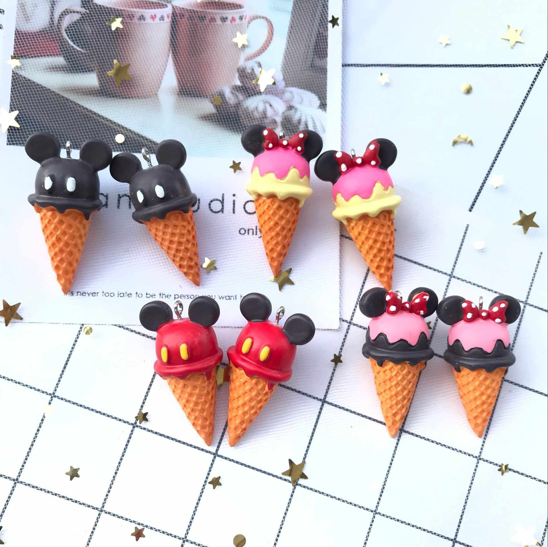 45*25mm 4pcs new 3d resin  ice cream necklace charms keychain pendant necklace pendant for DIY decoration