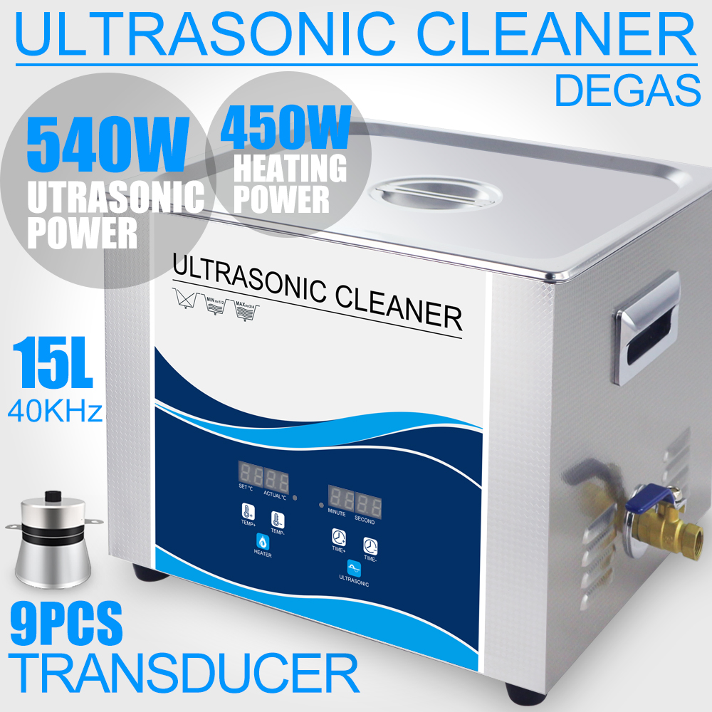 15L Ultrasonic Cleaner 360W/540W 40KHZ Digital Control Heater Degas Remove Oil Rust Car Lab Dental Tools Electronics Parts 15l ultrasonic cleaner bath 540w 40khz 110v 220v degas heater lab optical instruments screws nut dental tool hardware bearings