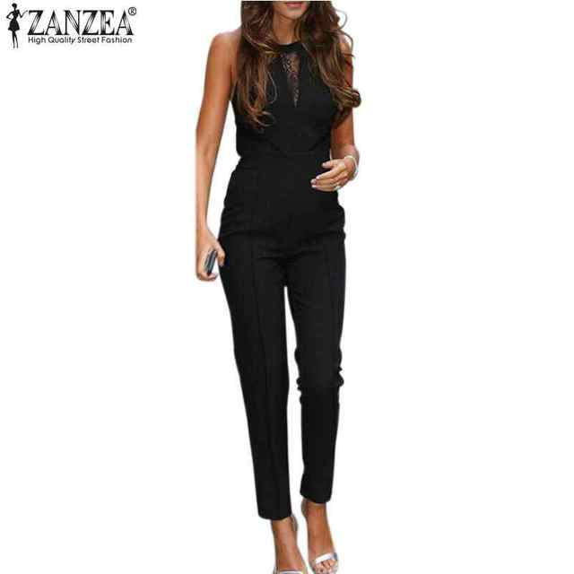 ZANZEA New Bodycon Jumpsuits 2017 Womens Sleeveless Lace Patchwork Rompers Playsuits Black Pants Plus Size XS-4XL Hot Sale