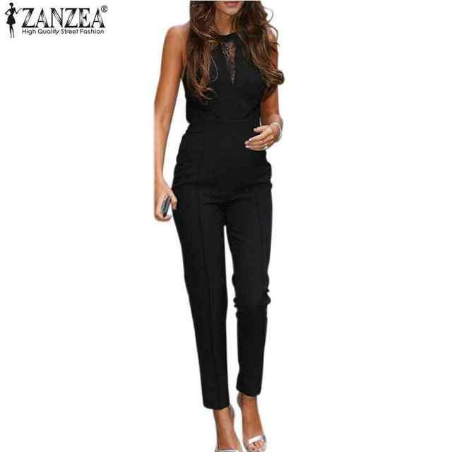 Zanzea nueva bodycon mono de 2017 mujeres sin mangas del remiendo del cordón mamelucos playsuits pantalones negros más el tamaño xs-4xl venta caliente
