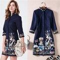 Традиционный китайский стиль 2017 зима женщины роскошные вышивки шерстяной dress three четверти длины шерсть тонкая короткая dress кран