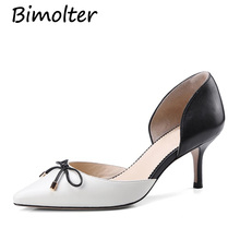 Bimolter Women Sheepskin Pumps Butterfly Knot Decor Thin Heels Dorsay Two-Pieces Genuine Leather Girl Casual Shoe LXSA005