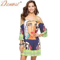 2018 New Boho Summer Spaghetti Strap Mini Dress Ethnic African Print Dresses Women Off Shoulder Halter