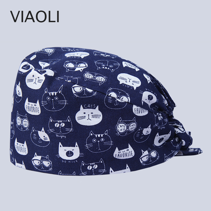 New Surgical Caps Printing Cat Adjustable Printing  For Men And Women With Sweatband Cotton Pet Doctor Hats Dentist